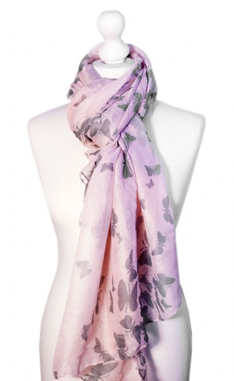 Believe -  Large Silky Touch Butterfly Printed Scarf (Pink/Grey)